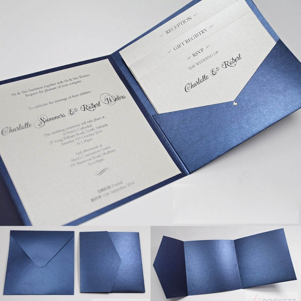 Navy Blue Shimmer Paper Square Pocket Wedding Invitation Card E455 On Aliexpress Alibaba Group