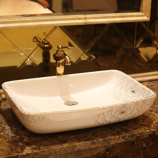 Rectangular Jingdezhen Bathroom Ceramic Sink Wash Basin Porcelain Counter  Top Wash Basin Bathroom Sinks Laundry Room