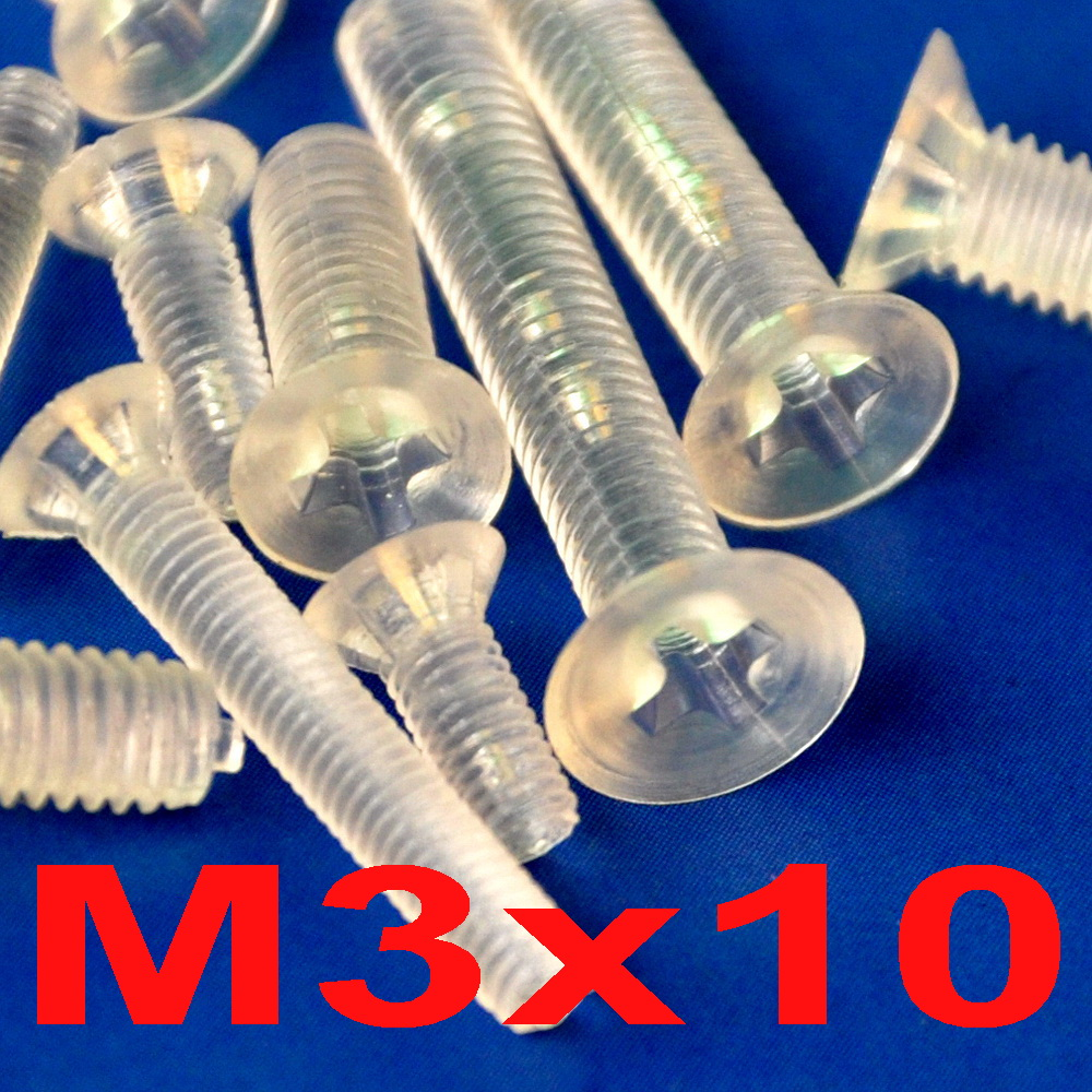 ( 1000 pcs/lot ) Metric <font><b>M3</b></font> x <font><b>10mm</b></font> Polycarbonate(PC) Phillips Flat Head Countersunk CSK Screw. image