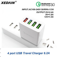 XEDAIN 4-Port Plug USB Charger EU/US Quick Charge 3.0 9V1.8A 12V1.5A 5V2.4A Fast Charging