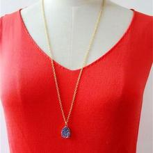 9 Colors Drusy  Druzy Necklace Waterdrop Pendant Necklaces Gold Colour Chain Fashion Brand Jewelry for Women Girls KS 76