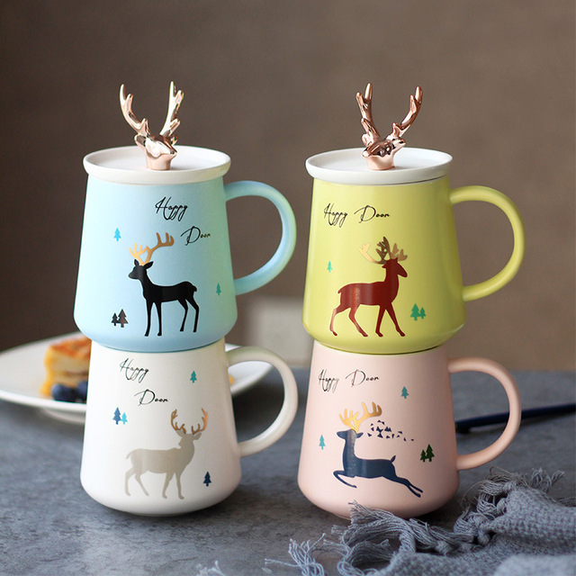6d23ad6f5d91 Creativity Korean Style Cute Cartoon Elk 3D Cup Cover Gold Mugs Student  Lovers Girlfriend Christmas Gift Coffee Mug Caneca Funny