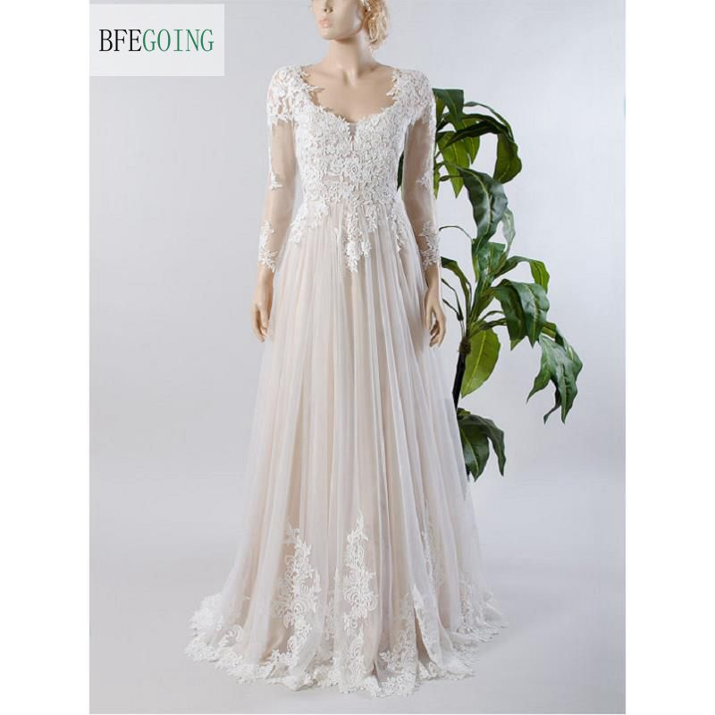 Ivory Lace Tulle Long Sleeves   Floor-Length  V-Neck   A-line Wedding Dress Court Train  Custom Made