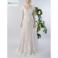 Ivory Lace Tulle Long Sleeves Floor Length V Neck A line Wedding Dress Court Train Custom made