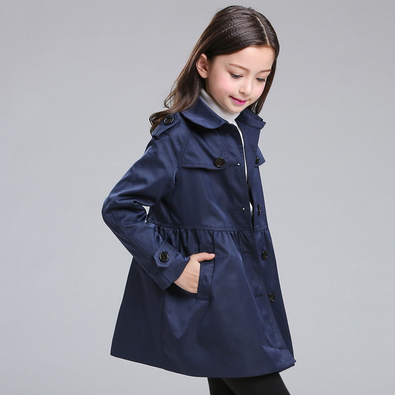 JKP 2018 spring and autumn new children's clothing fashion casual princess jacket in the long section cotton coats CT-35 2017 europe and the united states fashion color hooded long section of the windbreaker spring new cotton jacket girl red jacket
