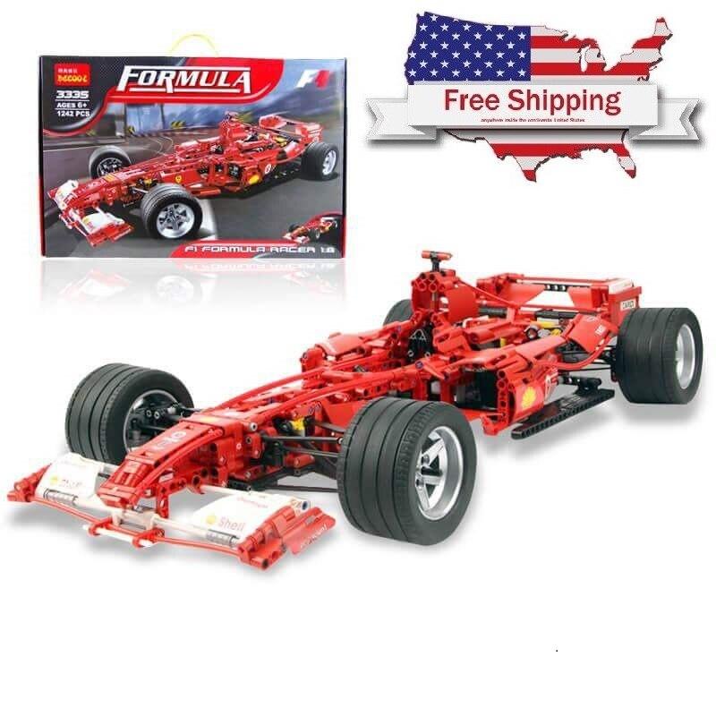 Decool voiture de course 1:8 Modèle 3335 1242 pièces jouets figurines d'action briques diy jouets pour Enfants legoing technique F1 ensemble Formule Ferrari