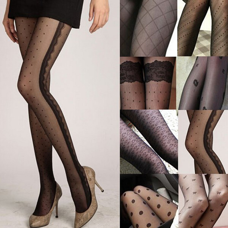 Fashion 11 Styles Hot Sale Sexy Women 2017 Lace Core Wire Jacquard Thin Black Silk Stockings Slim Tights