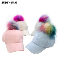 Brand Colorful Real Raccoon Fur Pom Poms Suede Snapback For Women 4 Colors Baseball Cap For
