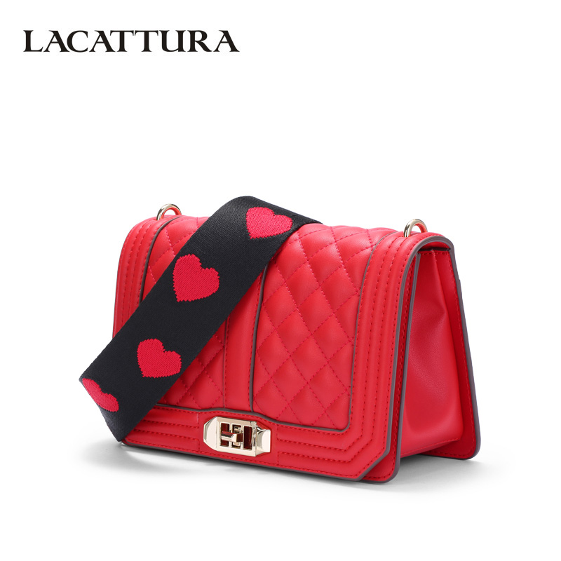 LACATTURA Women Leather Messenger Bag Crossbody Diamond Lattice Luxury Handbag Fashion Shoulder Bags Clutch Wide Shoulder Strap lacattura small bag women messenger bags split leather handbag lady tassels chain shoulder bag crossbody for girls summer colors