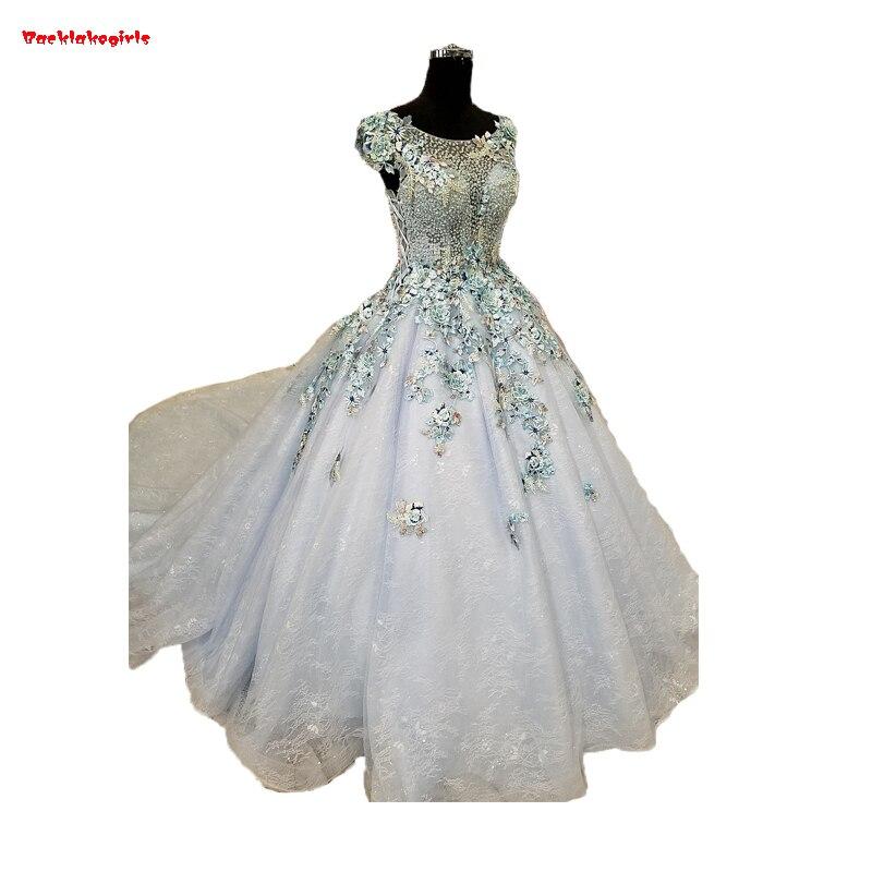 Backlakegirls Vintage Ball Gowns Wedding Dress Elegant Applique Luxury Crystal Chapel Train Pearls Lace Bridal Gowns 2018 Hot