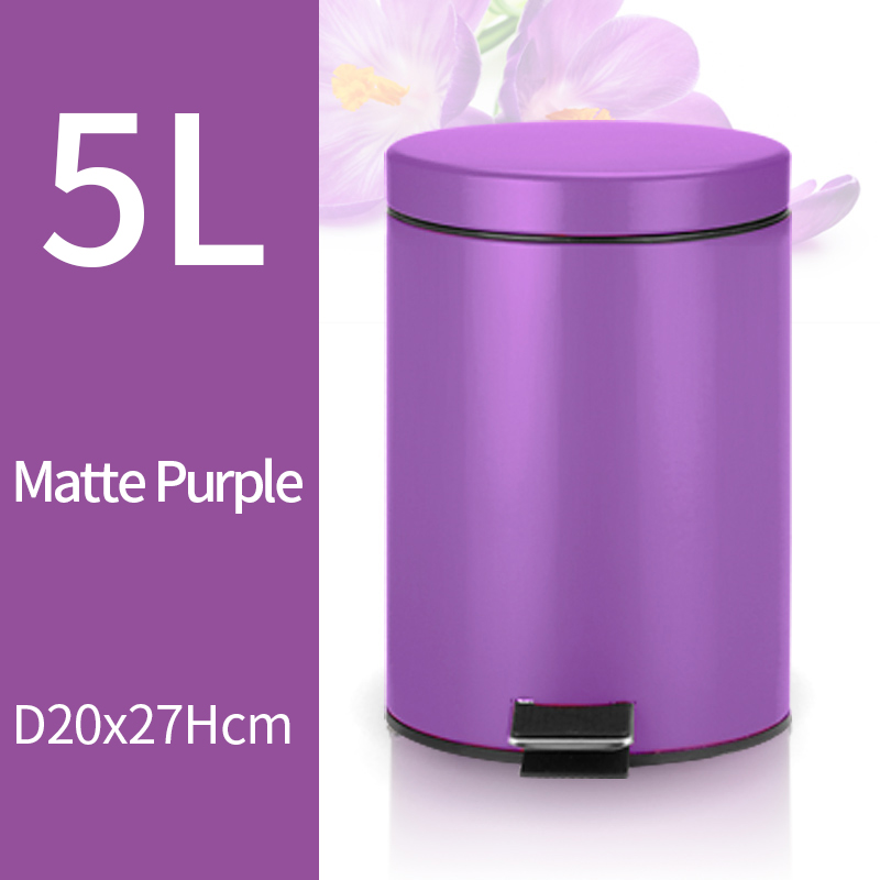 5L Trash Can Kitchen Living Room Office Garbage Dust Bin Bathroom Storage Rubbish Bucket Storage Box Pedal Waste Can Purple partol mini car garbage can auto trash can dust case holder office home vehicle rubbish bin with lid black white car accessories