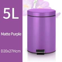 5L Trash Can Kitchen Living Room Office Garbage Dust Bin Bathroom Storage Rubbish Bucket Storage Box Pedal Waste Can Purple