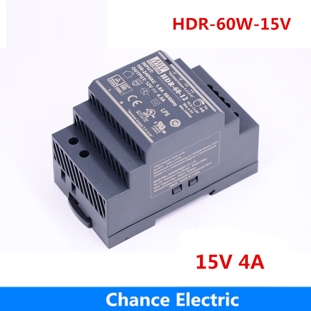 цена на MEAN WELL Switching Power Supply 15V 60W 4A HDR-60-15 meanwell Single Output Industrial DIN Rail Power Supply