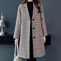 Autumn Coat Women Wool Coat Loose Single Breasted Long Woolen Coat Winter Wool Jackets Female Plaid Outwear