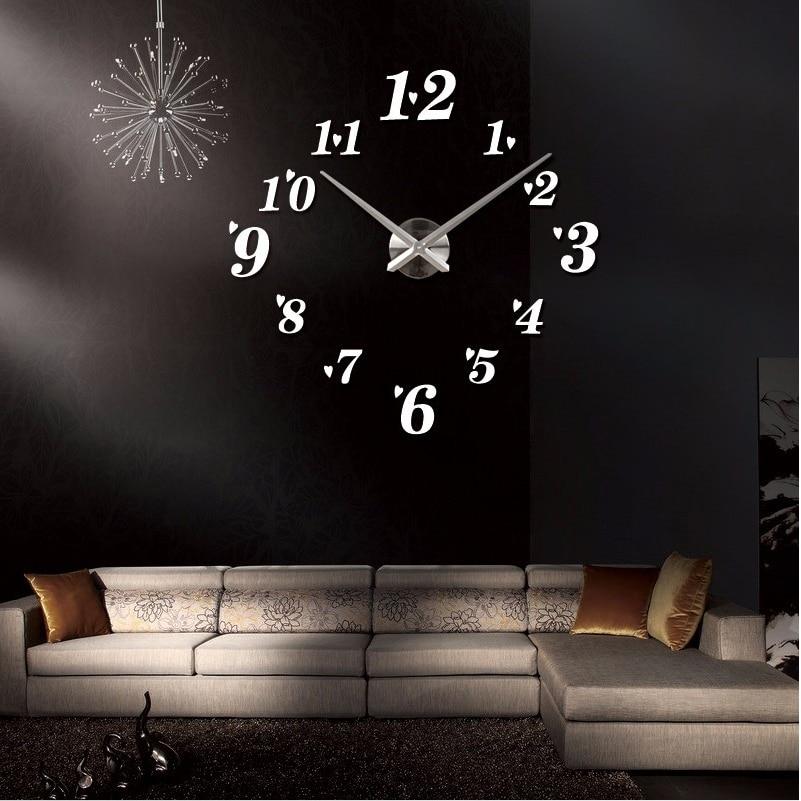 3d big size rushed wall clock mirror sticker diy brief living room
