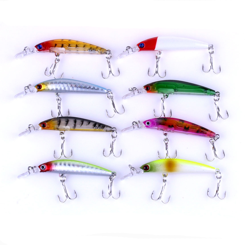 1pcs Minnow Fishing Lures 8 color fishing Bait Bass 7cm/4g fishing Tackle Transparent laser