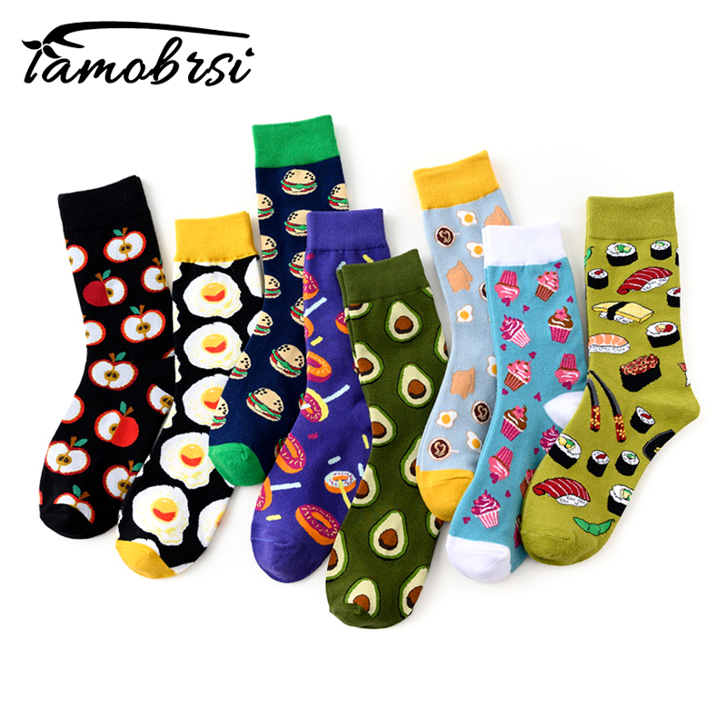 New Avocado Omelette Burger Apple Sushi Dessert Food Creative Socks Funny Women Casual Socks Men Short Crazy Happy Cotton Socks