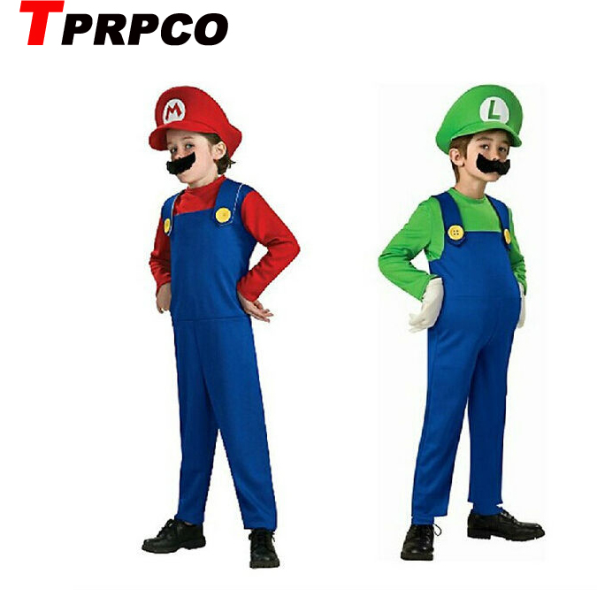TPRPCO Halloween Costumes Funny Super Mario Luigi Brother Costume Kids Children Boys Girls Fantasia Cosplay Jumpsuit NL880