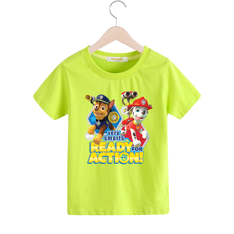 2018 Children Cartoon Dog Printing Tee Tops Clothes For Boy Girls Short Sleeves T-shirt Kids Summer Short Sleeves Clothing TX018 santa dxman short sleeves t shirt for men