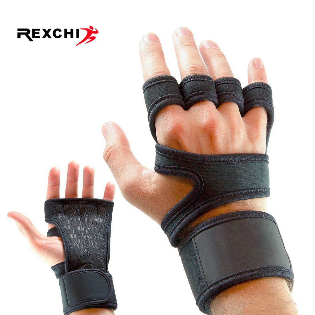 REXCHI Gym Fitness Gloves Hand Palm Protector With Wrist Wrap Support Crossfit Workout Bodybuilding Power Weight Lifting Glove