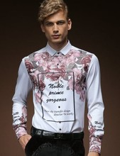 Free Shipping New fashion personality male Men's casual White Metrosexual long sleeved shirt 512056 custom-made