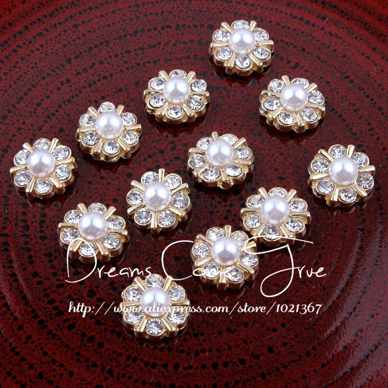 200pcs lot 12MM 2Color Newborn Mini Bling Metal Plating Flatback Button For  Craft Clear Decorative Rhinestone Button For Wedding-in Buttons from Home  ... 8a1776730bef