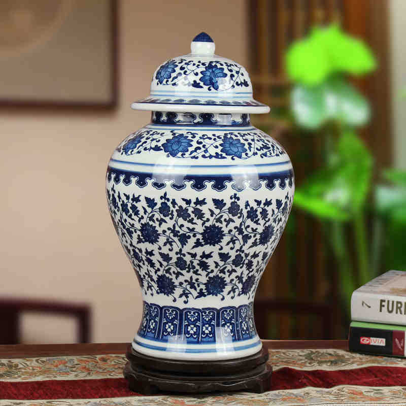 Us 129 0 Jingdezhen Ceramic Ginger Jar Antique Porcelain Blue And White Chinese Temple In Bottles Jars Bo From Home Garden On