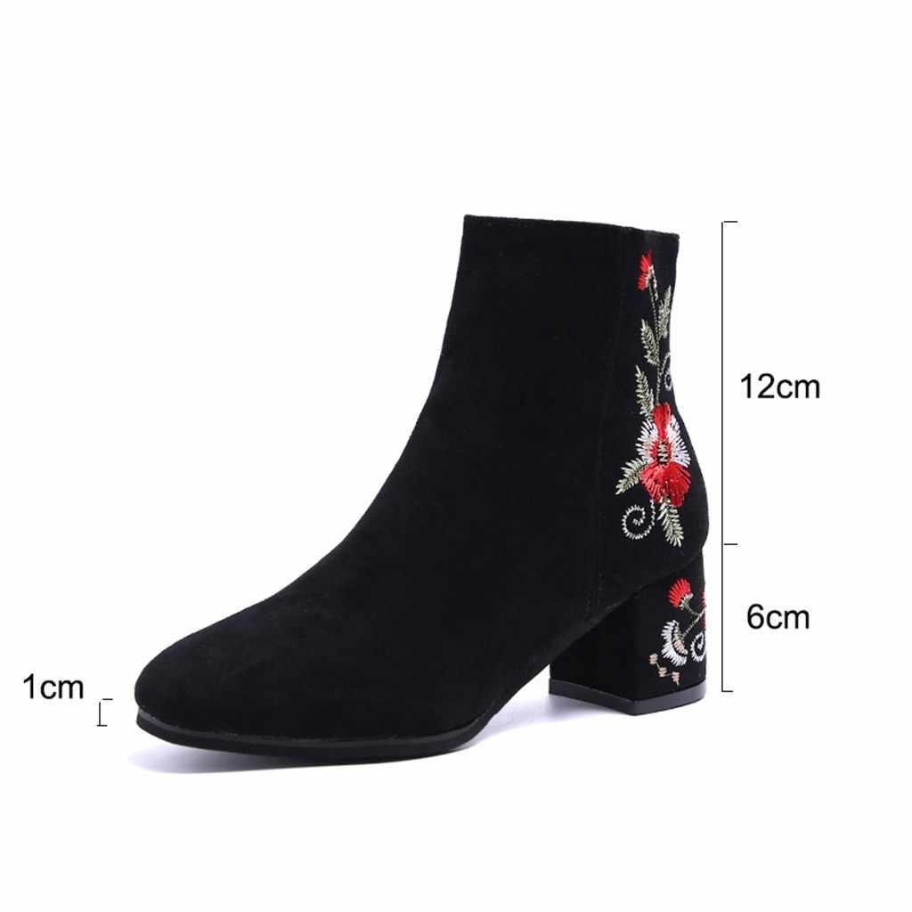 Phụ Nữ Da Lộn Mùa Đông Mút Giày Bốt Thời Trang Embroidre Ấm Dày Căn Bậc Cao Gót Kéo Khóa Nơ Dây Đeo Mắt Cá Chân Ngắn Giày Mũi Tròn giày
