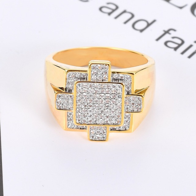 Hip Hop AAA Cubic Zirconia Iced Out Geometric Square Ring Bling Bling CZ Cross Rings Men Women Jewelry Gold Silver Drop Shipping