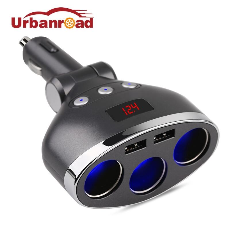 Urbanroad 3 in 1 Dual USB Car Cigarette Lighter Socket Splitter Plug LED USB Charger Adapter Voltage 3.1A DC12V-24V For Phone car charger universal 4 in 1 dual usb socket adapter voltage dc 5v 3 1a output temperature current meter tester for phone mp3