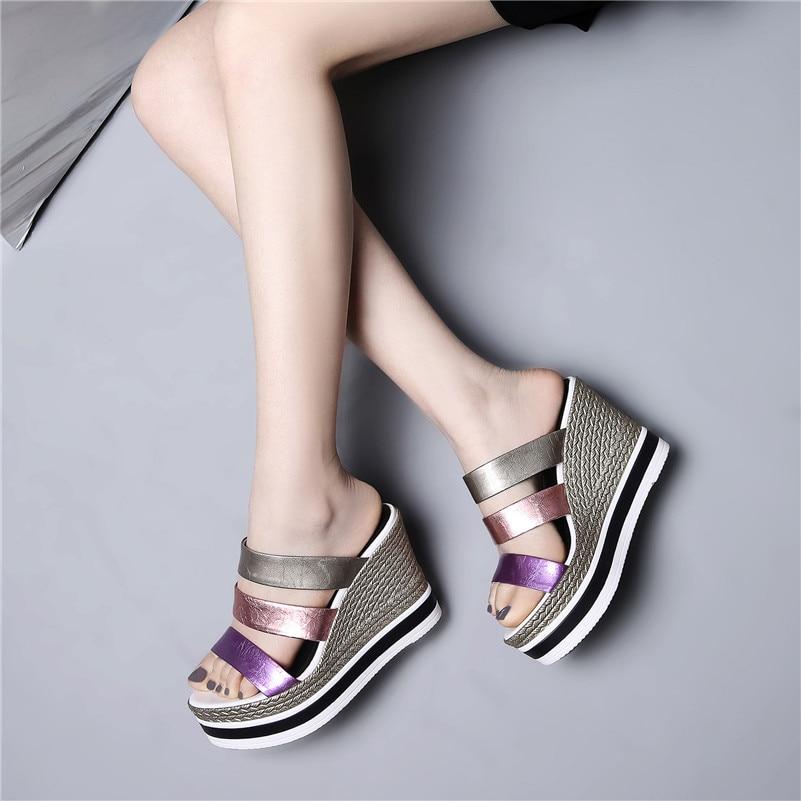 Verano Púrpura Zapatos Tacón Sandalias Multicolor Cuñas Alto Fiesta Calidad Cuero Charol De Nueva Mujeres Dulce Las Mujer Fedonas PwZTvv