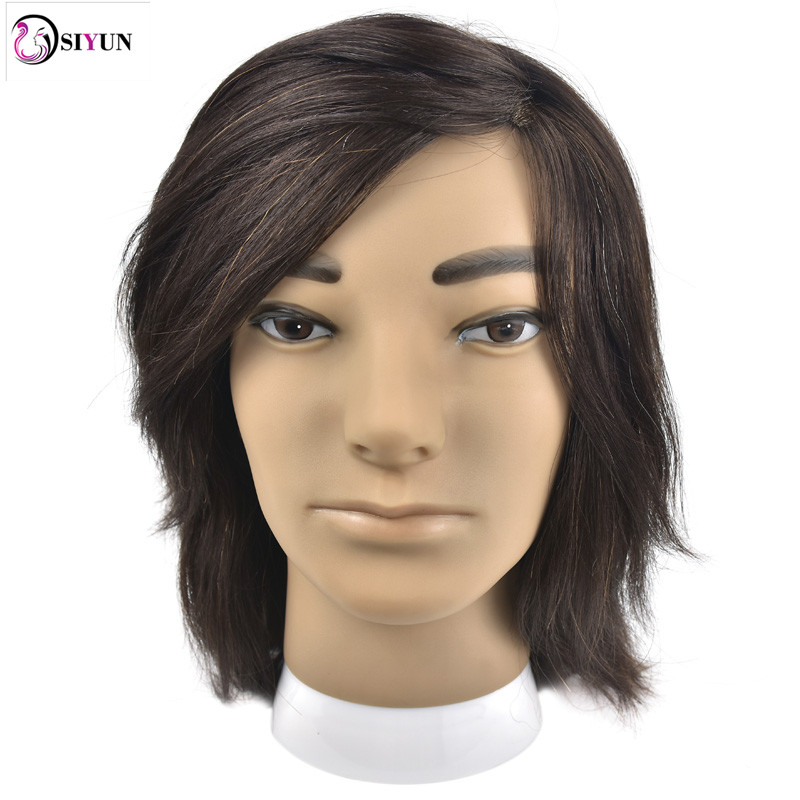 Hot Sale 8 Male Mannequin Head 100% Virgin Human Hair Hairdressing Training Head Hairstyles Manikin Head Dolls With Free Clamp top quality new stainless steel strap 18mm 13mm flat straight end metal bracelet watch band silver gold watchband for brand