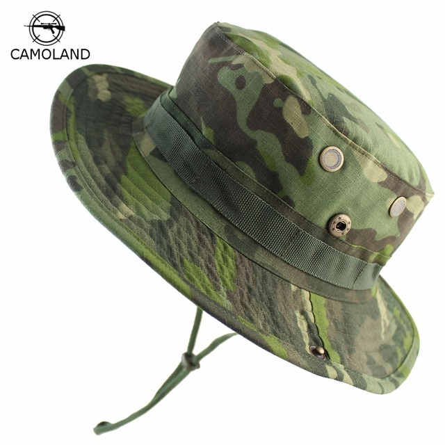 2cde27a3180 2018 Men Bucket Hat Outdoor Fishing Boonie Hat UV Protection Panama Hat  Hiking Sombrero Army Tactical