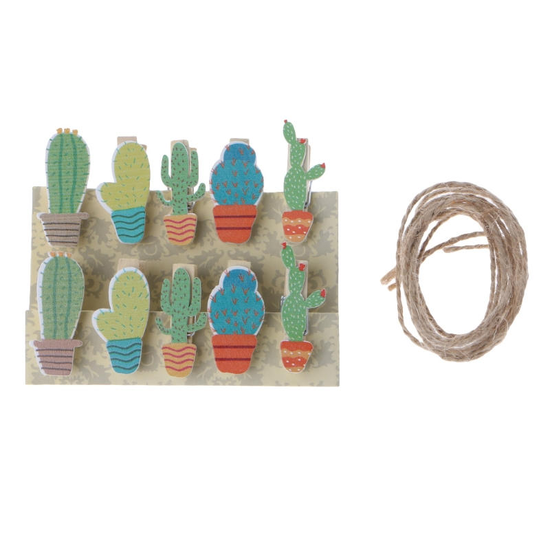 10 Pcs/pack Mini New Fashion Animal Cactus Wooden Clip Photo Paper Craft DIY Clips With Hemp Rope