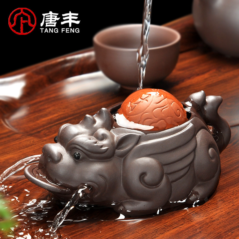 Handmade Yixing Brave Lucky Toad Boutique Tea Accessories Creative Small Ornaments Handmade Tea Pet Play Water 11x5cm X $