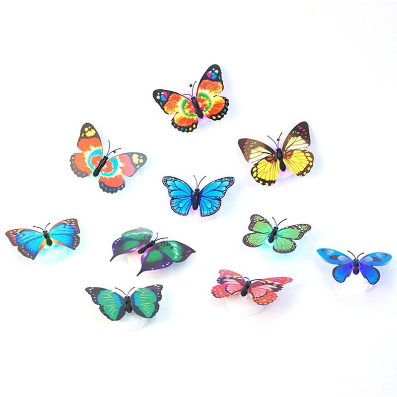 Cute Colorful Changing Butterfly LED Night Light Lamp Home Room Party Wall Decor