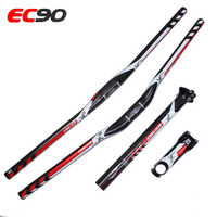 Ultra-light Full Carbon Handlebar Full Carbon Fiber Flat/Riser Bicycle Handlebar+Carbon Seatpost+ EC90 High Strength Product