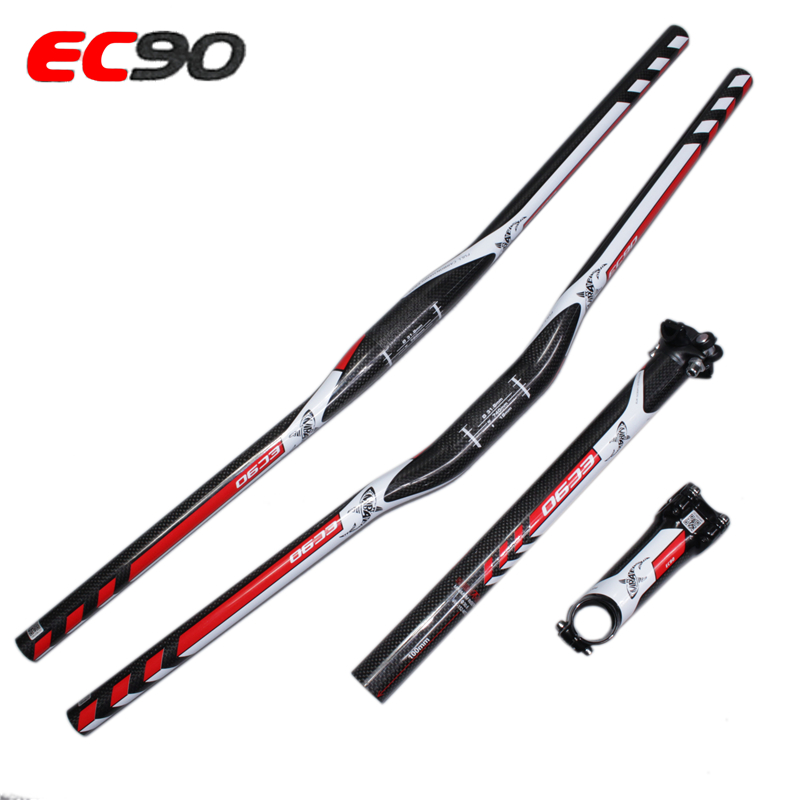 Ultra-light fulcarbon handlebarFull Carbon Fiber Flat / Riser Bicycle Handlebar + Carbon Seatpost + Ca