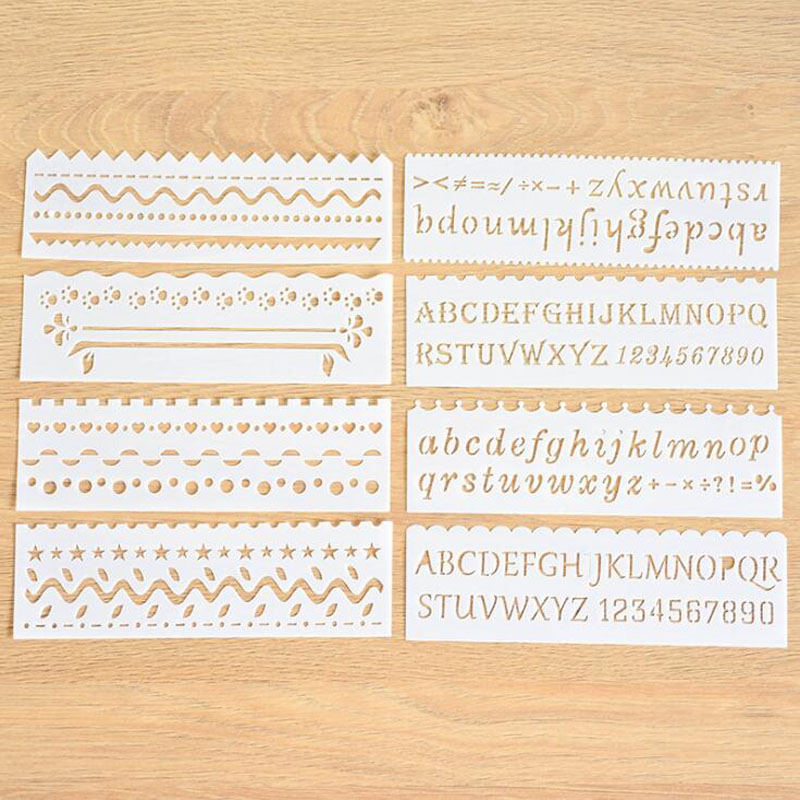 8pc Number Letter Openwork Painting Template Embossing DIY Bullet Journal Template Stencils For Scrapbooking Decor Reusable Wave