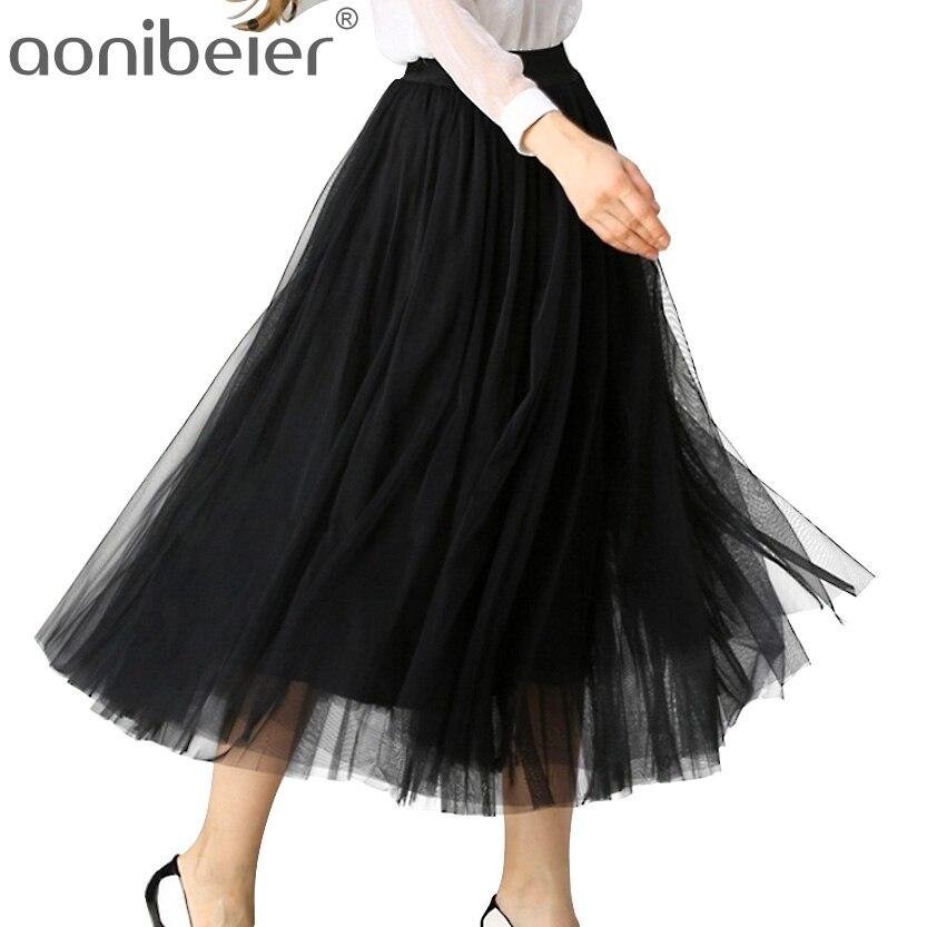Aonibeier Fashion Sweet Multi-layer Puff Gauze Skirt Elastic Waist Women Skirts High Waist Long Skirt Many Colors Tulle Skirt