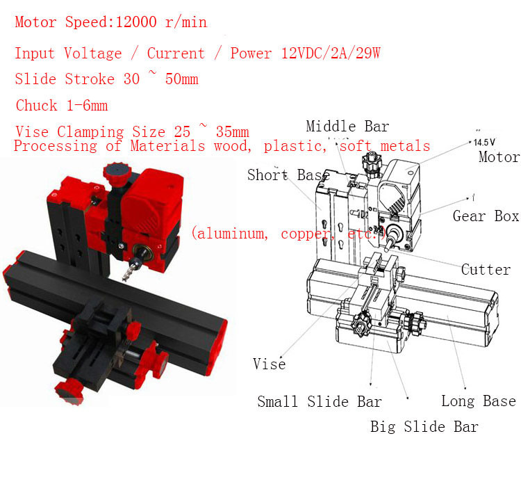 5 Sets 6 in 1 Mini Lathe Milling Drilling Wood Turning Jag Saw and Sanding Mini Combined Machine DIY Tool professional 6 in 1 motorized jig saw grinder driller metal lathe wood lathe