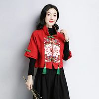 Ladies Chinese Tops Hanfu Embroidery Retro Vintage Shirt Ethnic Women Tops And Blouses Cotton Red Oriental Style Clothing AA4474