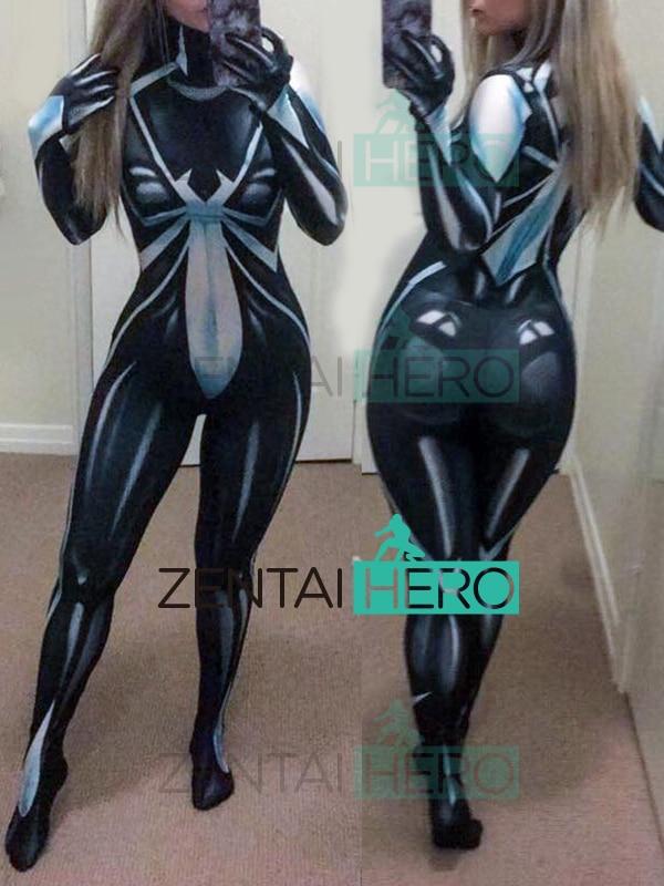Free Shipping 3D Printed New Arachne Deathweb Spider-Man Costume Zentai Cosplay Bodysuit Spiderman Superhero Catsuits 18062608