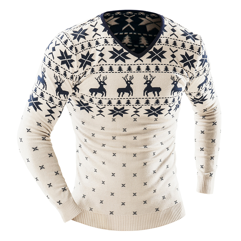 fbc70537834213 2017 Autumn Winter Pullover Men Christmas Sweater Jumper V Neck Deer  Pattern Slim Fit Knitted Christmas Sweaters Knitwear