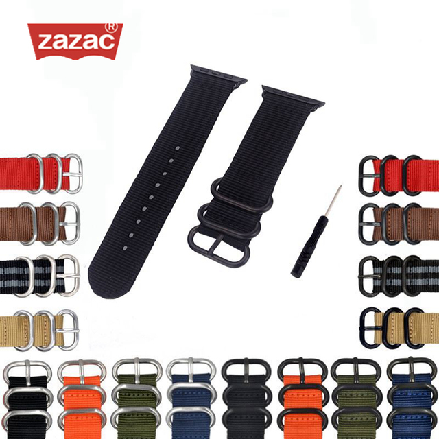 sports shoes 788b0 07cac US $3.99 40% OFF|Heavy Duty Nylon Watchband NATO for Apple Watch Band  Series 3/2/1 Sport Leather Bracelet 42 mm 38 mm Strap For iwatch Band-in ...