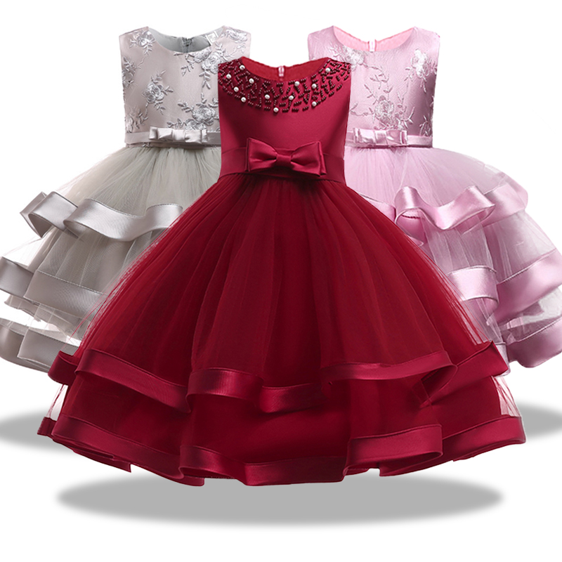 Flower Girls Dresses For Weddings Party Ball Gown Organza Royal wine ...