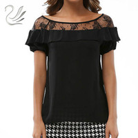 Vintage Women Summer Blouses Shirts 2017 New O Neck Lace Crochet Puff Sleeve Black White Casual