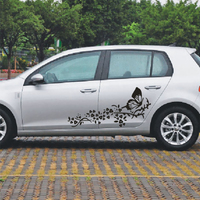 2pcs Set Car Stickers And Decals Flower Butterfly Universal Custom Door Graphics For BMW VW Ford