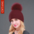 Inverno Mulheres Gorros Pompom Grande Real Chapéu de Pele de Guaxinim Moda malha De Lã Quente Tampas de Algodão Feminino Casual Chapéus De Pele Naturais sólida