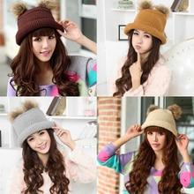 Women Winter Warm Lovely Knitted Roll-up Hem Bucket Hat Raccoon Ball Cap S88  JL